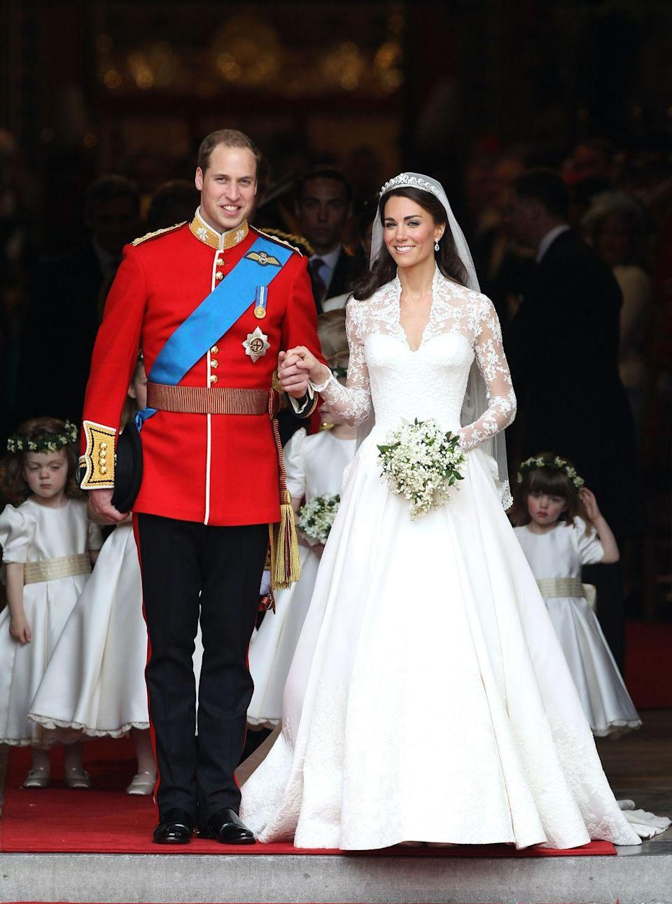 """<p>In keeping with royal tradition, after their nuptials, the bride and groom both receive a new name after being granted new titles by the Queen. For instance, on William's wedding day, he received the title of Duke of Cambridge and no longer uses his father's surname, Wales.</p><p><strong>RELATED: </strong><a href=""""https://www.goodhousekeeping.com/life/entertainment/g3513/royal-wedding-facts/"""" rel=""""nofollow noopener"""" target=""""_blank"""" data-ylk=""""slk:40 Facts About Kate and William's Royal Wedding"""" class=""""link rapid-noclick-resp"""">40 Facts About Kate and William's Royal Wedding</a></p>"""