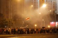 FILE PHOTO: Clashes with opposition supporters after polls closed at the presidential election in Minsk