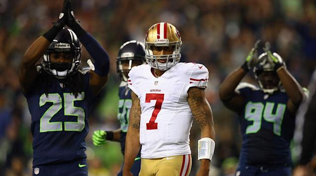 Richard Sherman believes that former San Francisco 49ers quarterback Colin Kaepernick is being blackballed by NFL teams during free agency, according to ESPN.com's Sheil Kapadia.
