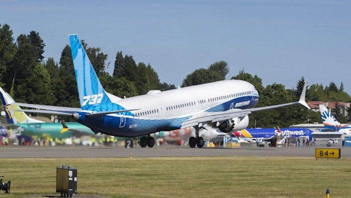 Boeing 737 MAX 10 airliner takes off from Renton Municipal Airport