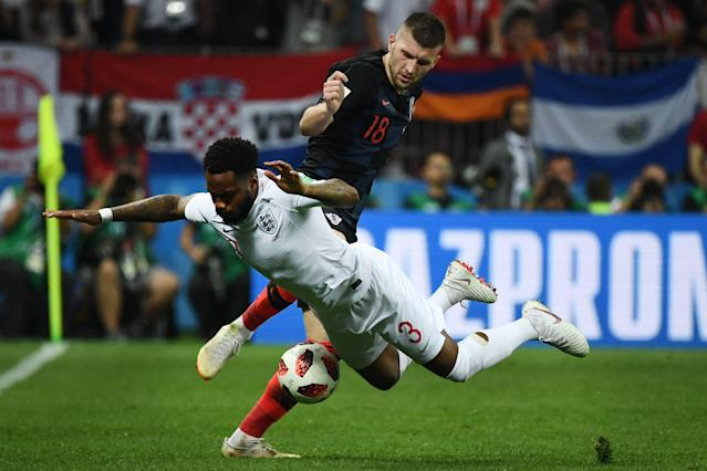 <p>England's defender Danny Rose (R) vies for the ball with Croatia's forward Ante Rebic during the Russia 2018 World Cup semi-final football match between Croatia and England at the Luzhniki Stadium in Moscow on July 11, 2018. (Photo by FRANCK FIFE / AFP) </p>