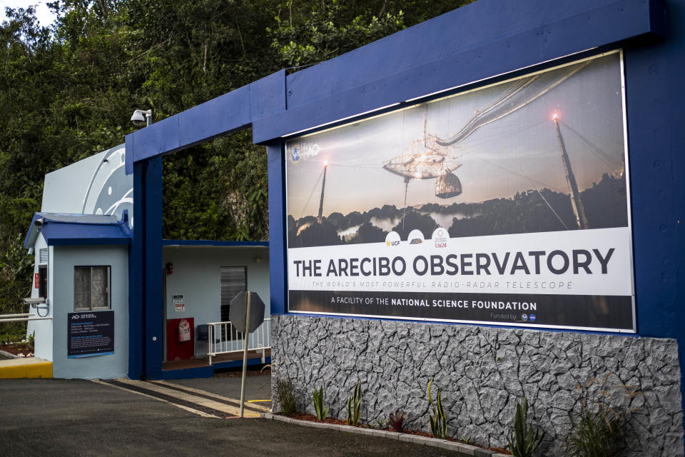 The main entrance of the Arecibo Observatory is seen in Arecibo, Puerto Rico on November 19, 2020. (Photo by Ricardo Arduengo/AFP via Getty Images)