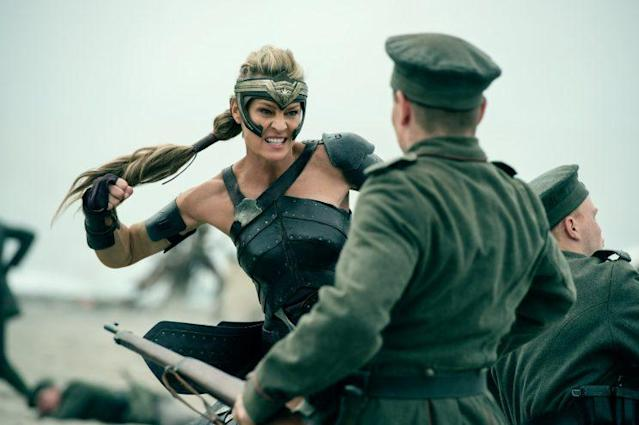 Robin Wright plays Antiope, the Amazon's greatest fighter and sister to Queen Hippolyta; here, she is about to put the smackdown on invading German soldiers. (Photo: Warner Bros.)
