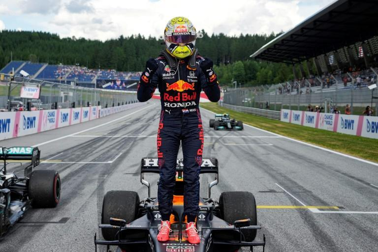 Head and shoulders above: Max Verstappen celebrates victory in the Styrian Grand Prix