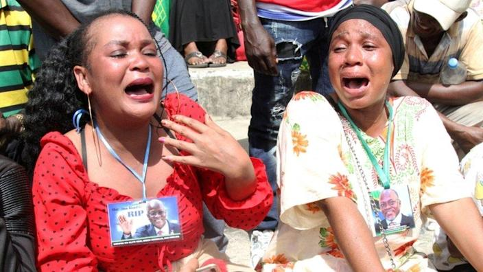 Mourners wept at the state funeral procession of Magufuli