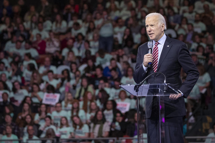 Democratic presidential candidate former Vice President Joe Biden speaks during the McIntyre-Shaheen 100 Club Dinner, Saturday, Feb. 8, 2020, in Manchester, N.H. (AP Photo/Mary Altaffer)