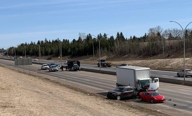Investigators blocked off the westbound lanes of the Whitemud while they investigated Monday's collision.