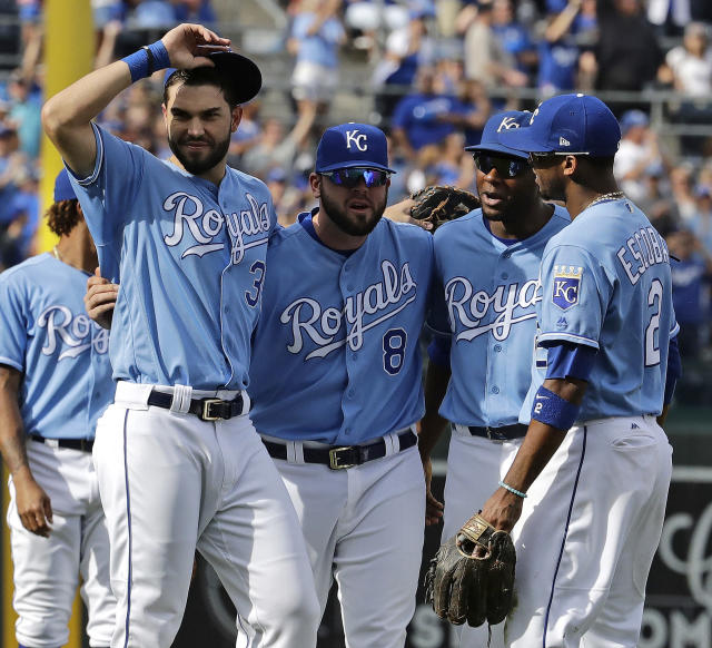 Four key members of the Royals' core said goodbye to the fans for what could be the final time. (AP Photo/Charlie Riedel)