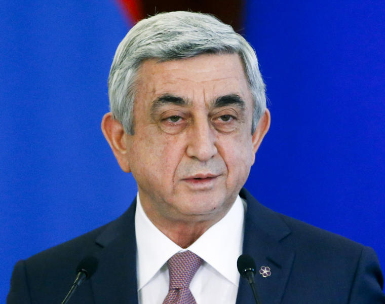 FILE In this file photo taken on Wednesday, March 15, 2017, Armenian President Serge Sarkisian speaks after talks with Russian President Vladimir Putin in the Kremlin in Moscow, Russia. Armenians are set to cast ballots Sunday in the first parliamentary elections since the ex-Soviet nation modified its constitution to expand powers of parliament and prime minister. (Sergei Chirikov/Pool Photo via AP, file)