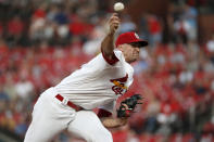 St. Louis Cardinals starting pitcher Jack Flaherty throws during the first inning of the team's baseball game against the San Francisco Giants on Tuesday, Sept. 3, 2019, in St. Louis. (AP Photo/Jeff Roberson)