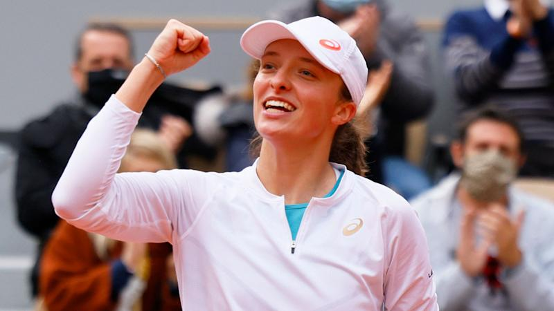 Pictured here, Iga Zwiatek celebrates during her French Open semi-final win.