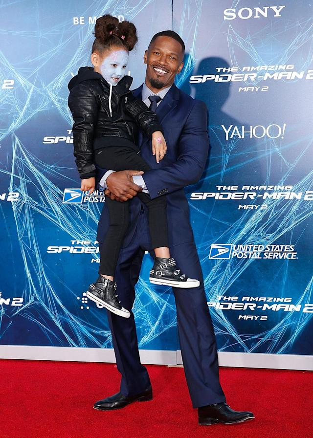 <p>The Oscar winner, who played Spidey adversary Electro, brought daughter Annalise Bishop to the premiere. (Photo: Jemal Countess/Getty Images) </p>