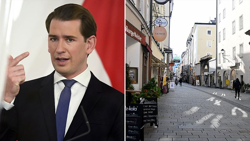 Chancellor Sebastian Kurz (left) has tightened restrictions in Austria, while images show empty streets as people are urged not to leave their homes.