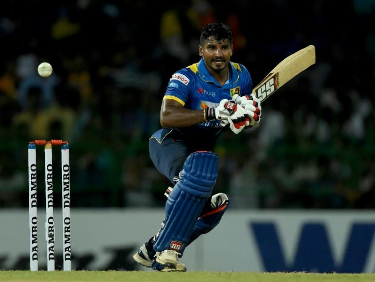 Sri Lankan cricketer Kusal Perera plays a shot against Bangladesh at the R Premadasa Stadium in Colombo on April 4, 2017