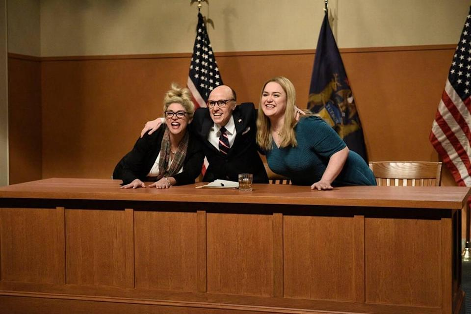 """Lauren Holt, right, opens """"Saturday Night Live"""" on Dec. 5 with fellow cast mates Cecily Strong and Kate McKinnon."""