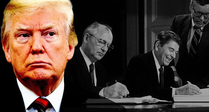 From left: President Trump; Soviet leader Mikhail Gorbachev and President Ronald Reagan sign the treaty eliminating U.S. and Soviet intermediate-range and shorter-range nuclear missiles Dec. 8, 1987, at the Washington summit. (Photo illustration: Yahoo News; photo: AP, AFP/Getty Images)