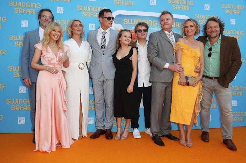The full cast are pictured here at the premiere of Swinging Safari. Source: Getty