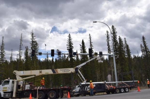 New traffic lights have been installed at a key intersection in Bragg Creek that was controlled by a four-way stop.