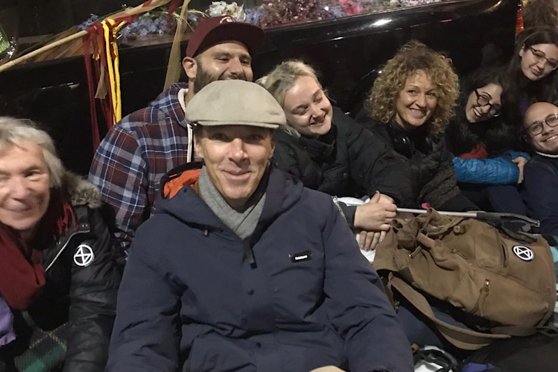 Benedict Cumberbatch joins XR protesters in Trafalgar Square