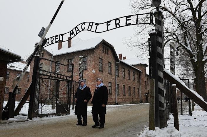 Auschwitz survivors visit the former Nazi concentration camp -- where 1.1 million people perished between 1940 and 1945 (AFP Photo/Janek Skarzynski)