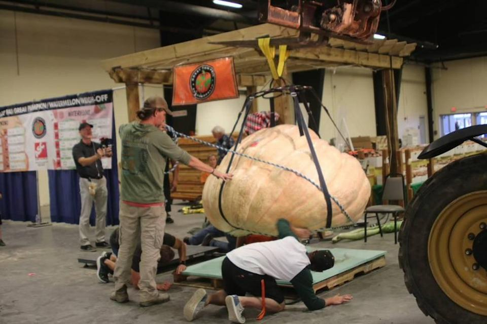 The record-setting pumpkin grown by Chris Rodebaugh of Lewisburg, West Virginia is lifted by a crane at the North Carolina State Fair on Wednesday, Oct. 13, 2021.