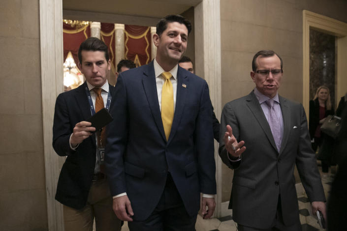 """FILE - In this Dec. 20, 2018 file photo House Speaker Paul Ryan leaves the chamber after the Republican-led House approved funding for President Donald Trump's border wall at the Capitol in Washington. Ryan thinks his divided party, and history, will move on since the chaotic end of Donald Trump's presidency. The either-or debate over fealty to Trump """"is going to fade,"""" the 2012 Republican vice presidential candidate said in an interview. """"I think circumstances, ideas and new candidates are going to overshadow that whole conversation."""" (AP Photo/J. Scott Applewhite,File)"""