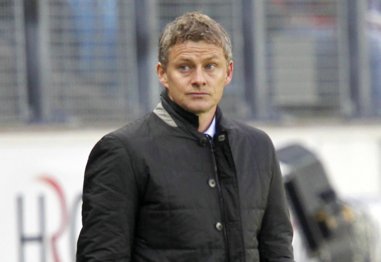 MOLDE, NORWAY - MAY 6:  Ole Gunnar Solskjaer, manager of Molde FK looks on during the Norwegian Tippeligaen match between Molde FK and Aalesunds FK held on May 6, 2012 at the Aker Stadion in Molde, Norway. (Photo by Daniel Sannum Lauten/EuroFootball/Getty Images)