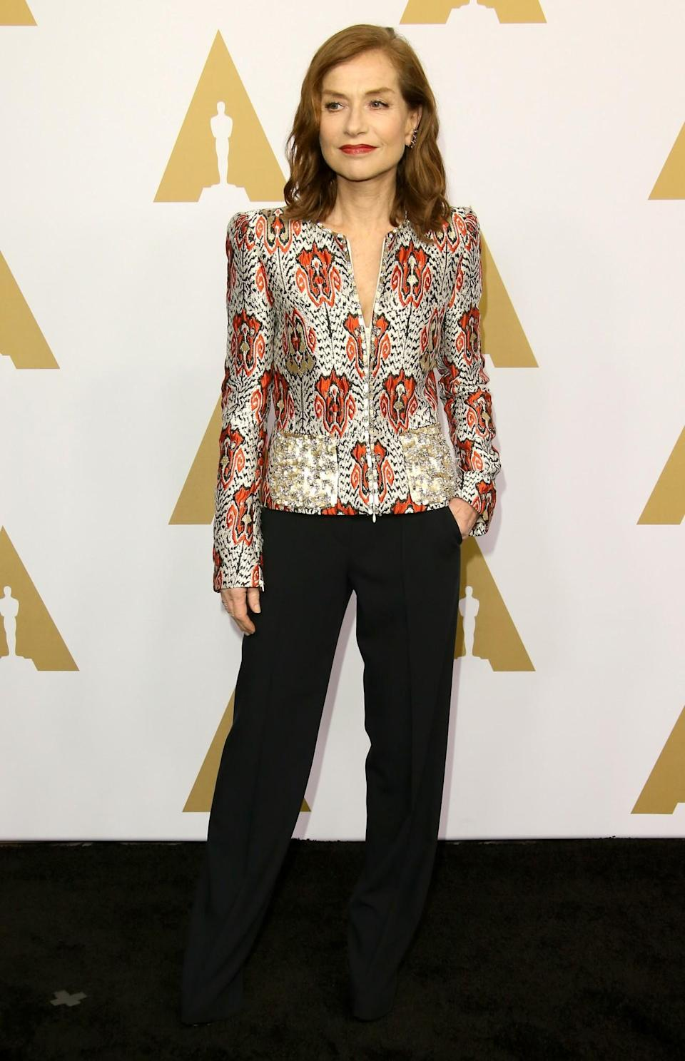<p>'Elle' actress Isabelle Huppert wore a stunning statement jacket by Armani Prive. [Photo: Getty] </p>