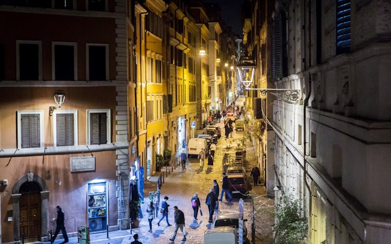 White LED lamps, front, and yellow sodium streetlights, in the Monti neighborhood of Rome,  March 20, 2017 - NYTNS / Redux / eyevine