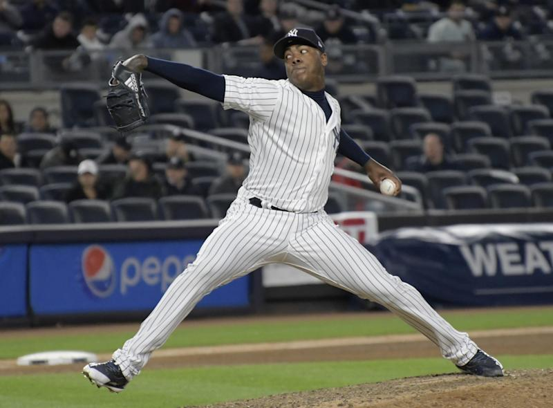 After signing an $86 million deal to return to New York, Chapman has recorded seven saves to start the year. (AP Photo/Bill Kostroun)