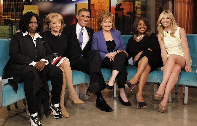 "President Barack Obama appears on the ABC's television show ""The View"" in New York, Monday, May 14, 2012. From left are, Whoopi Goldberg, Barbara Walters, the president, Joy Behar, Sherri Shepherd and Elisabeth Hasselbeck. (AP Photo/Pablo Martinez Monsivais)"