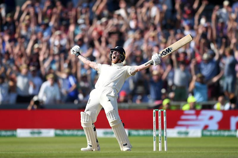Ben Stokes celebrates hitting the winning runs to win the third Ashes Test between England and Australia: Getty Images