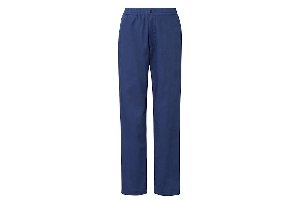 """$60, Uniqlo. <a href=""""https://www.uniqlo.com/us/en/men-plusj-wide-fit-relaxed-tapered-pants-439670.html?dwvar_439670_color=COL66&cgid=men-pants-and-chinos#start=1&cgid=men-pants-and-chinos"""" rel=""""nofollow noopener"""" target=""""_blank"""" data-ylk=""""slk:Get it now!"""" class=""""link rapid-noclick-resp"""">Get it now!</a>"""