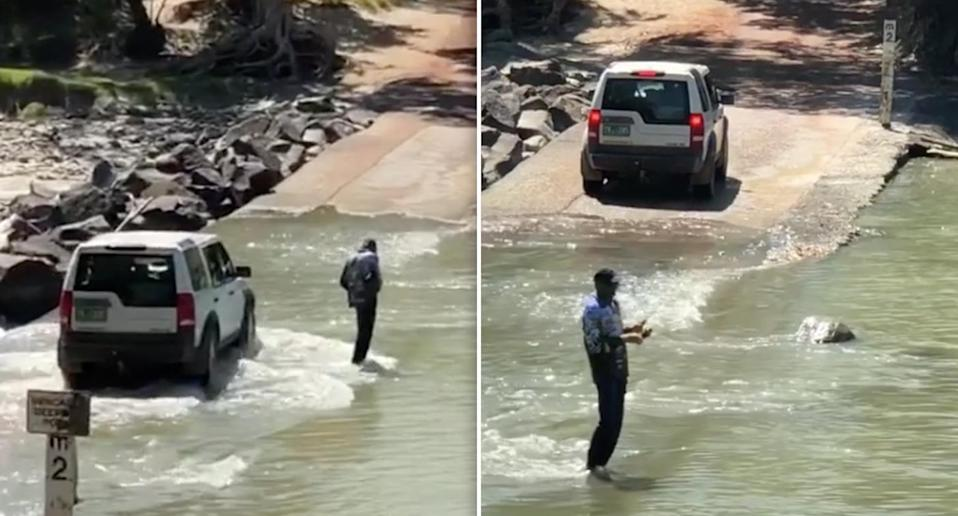 The 4WD passes behind the fisherman before being stopped by one of the crocs. Source: Kaff Eine Paints