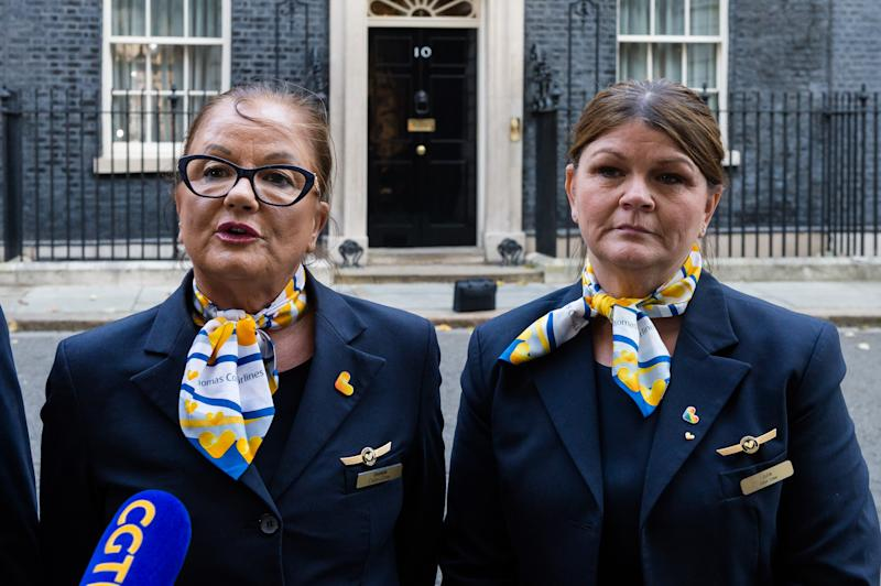 Thomas Cook workers speak to the media outside 10 Downing Street as they handed in a petition with over 50,000 signatures which calls for a full inquiry into Thomas Cooks collapse and for the companys directors to pay back their bonuses on 02 October, 2019 in London, England. Around 9,000 Thomas Cook employees in the UK lost their jobs on Monday last week as the worlds oldest travel company went into liquidation over its debts. (Photo by WIktor Szymanowicz/NurPhoto via Getty Images)