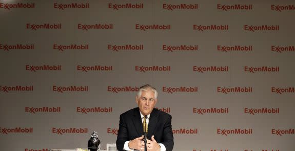 ExxonMobil CEO Rex Tillerson speaks to reporters after the annual meeting ExxonMobil shareholders meeting in Dallas, Wednesday, May 28, 2014.