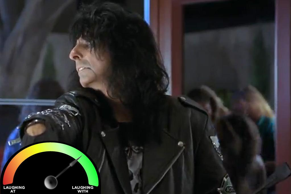 """<b>Alice Cooper </b><br>""""<a href=""""http://movies.yahoo.com/movie/waynes-world/"""">Wayne's World</a>"""" (1992)<br>Do you ever feel 100% with Alice Cooper on anything he does? I wish I did, but I don't. Maybe it's the boa constrictors? Maybe it's the """"chicken incident""""? Regardless of my personal hang-ups, this performance is legendary, and the ultimate shock-rocker deserves the praise that Wayne and Garth bestow upon him. Plus, there's much to be said for the fact that I haven't pronounced Milwaukee the same way since."""