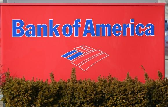 A Bank of America branch sign.