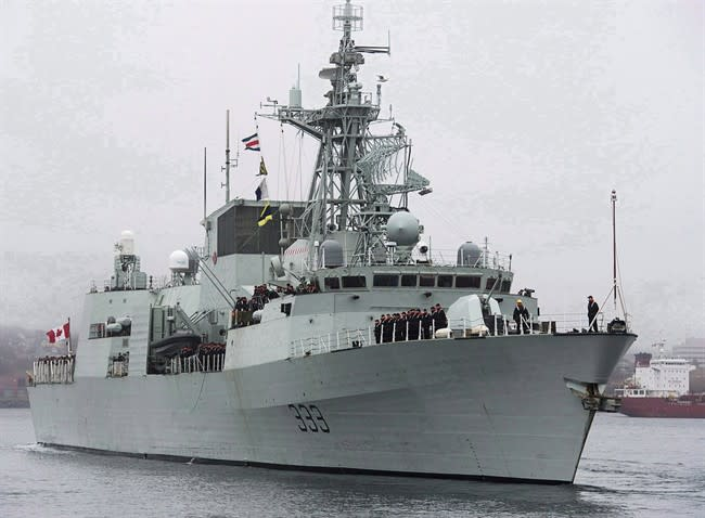 HMCS Toronto heads to the Arabian Sea from Halifax on Jan.14, 2013. THE CANADIAN PRESS/Andrew Vaughan