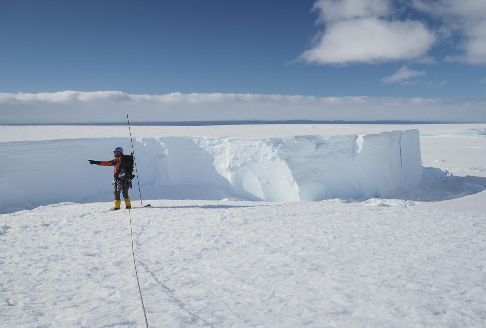 Field guide Andy Hood is seen at the Brunt ice shelf in Antarctica in January.