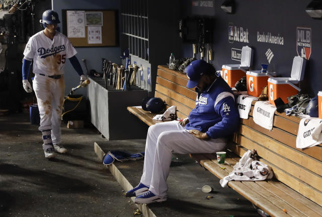<p>Los Angeles Dodgers relief pitcher Kenley Jansen sits in the dugout during the ninth inning of Game 2 of baseball's World Series against the Houston Astros Wednesday, Oct. 25, 2017, in Los Angeles. (AP Photo/Matt Slocum) </p>