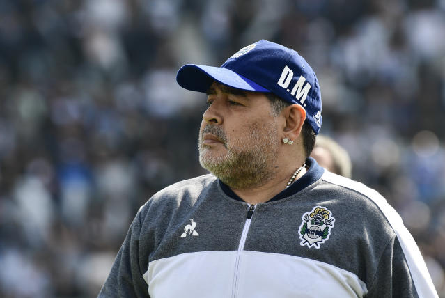 Diego Maradona has left his managerial role with Gimnasia after just two months. (AP Photo)