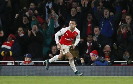 Alexis Sanchez celebrates after scoring the third goal for Arsenal Reuters / Stefan Wermuth Livepic