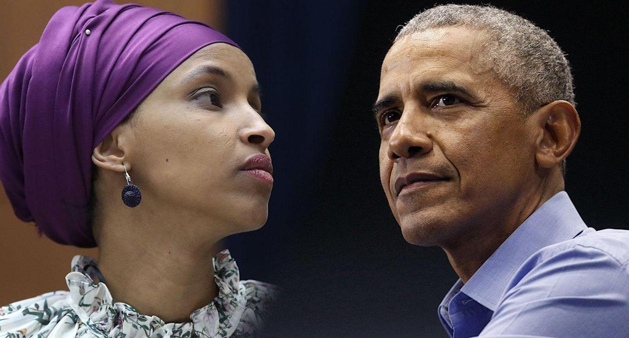 Rep. Ilhan Omar, D-Minn. and former President Barack Obama. (Photos: Mark Wilson/Getty Images; Luke Sharrett/Bloomberg via Getty Images)