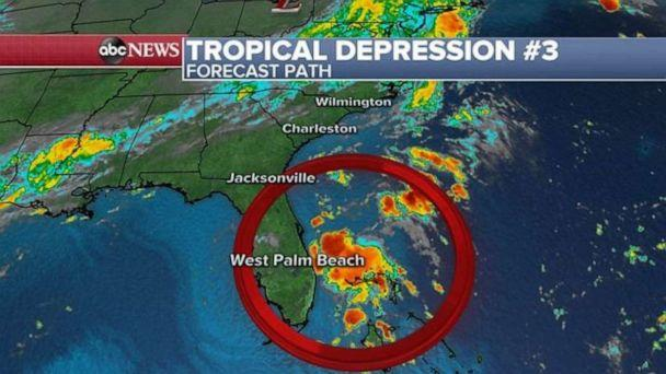 PHOTO: Tropical depression No. 3 is lingering off the eastern coast of Florida on Tuesday morning. (ABC News)