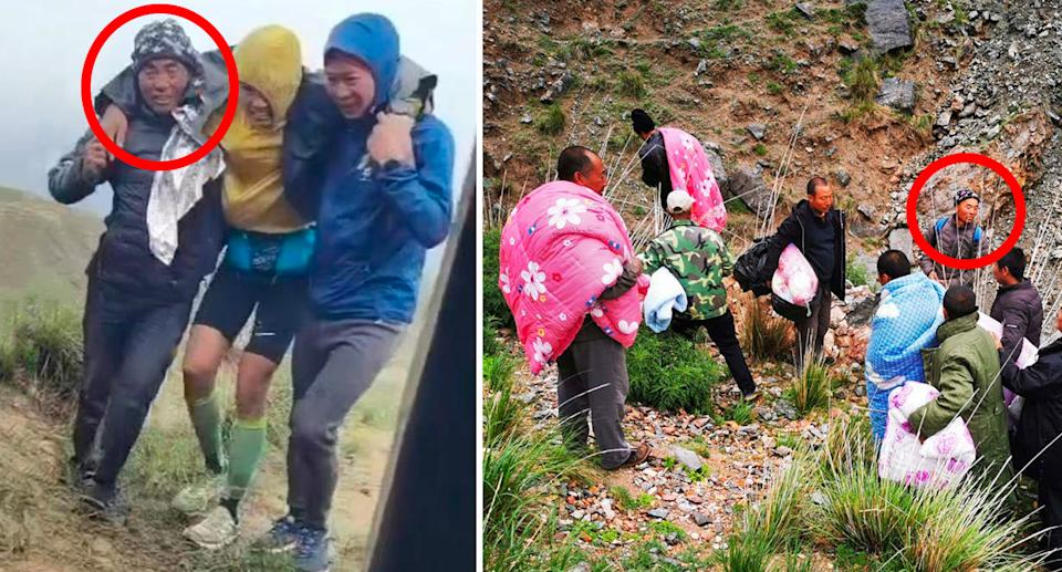 Zhu Keming has been hailed as a hero in China for his efforts helping athletes in the dangerous conditions. Source: Weibo