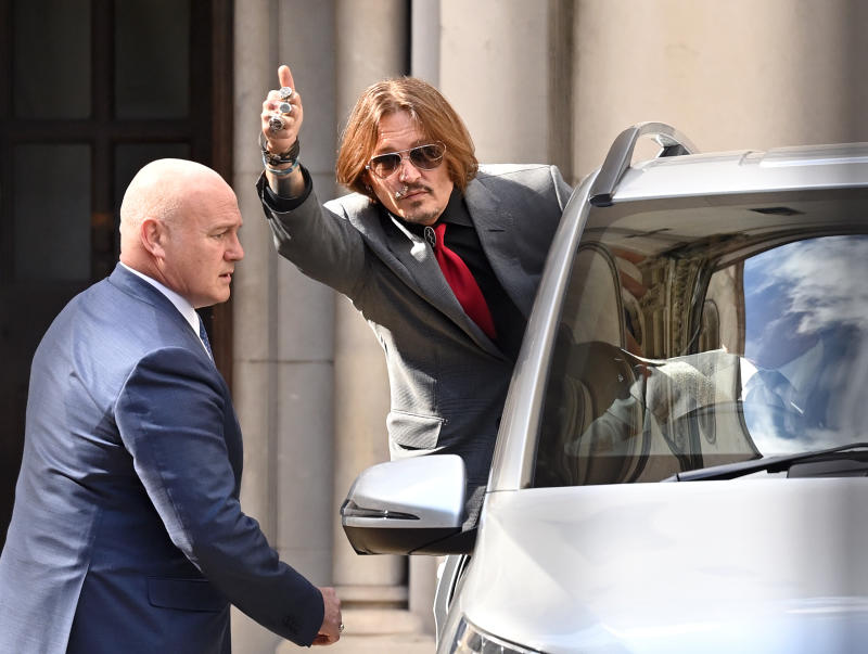 Johnny Depp departs court on July 21, 2020 in London, England after hearing Amber Heard's testimony.