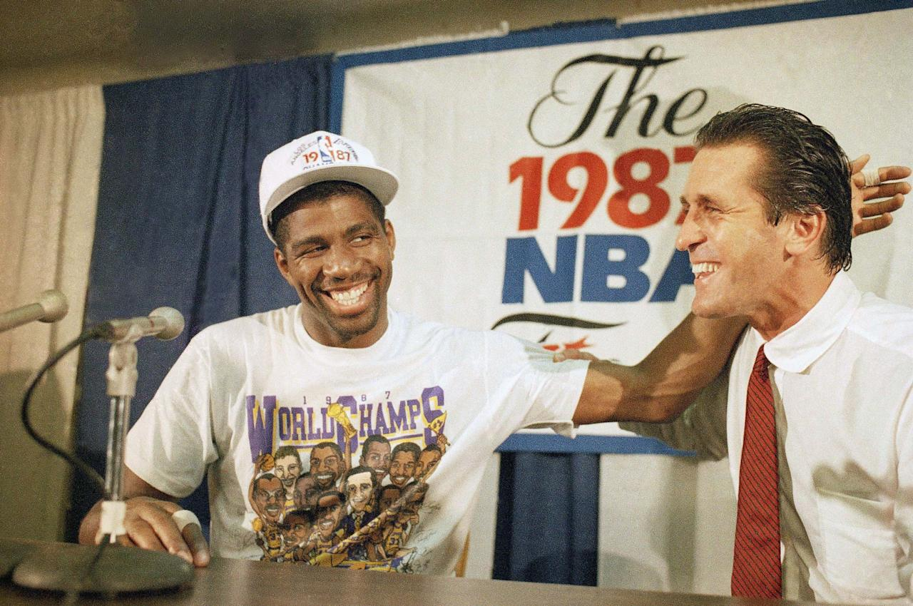 """<p>The best of the """"Showtime"""" teams that won five championships in the 1980s, the '87 Lakers featured Magic Johnson in his first MVP season along with six other double-figure scorers, including James Worthy and Kareem Abdul-Jabbar. The irrepressible offensive unit dropped just one game in three Western Conference playoff series before overcoming the defending champion Celtics in six games in the Finals. </p>"""
