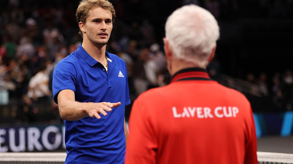 Alexander Zverev, pictured here shaking hands with John McEnroe at the Laver Cup.