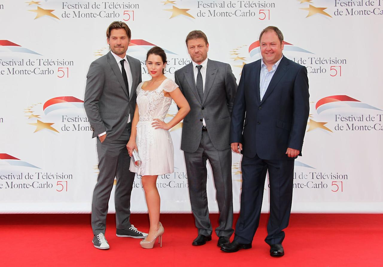 <p>Just a couple of months after the series premiere, Nikolaj Coster-Waldau, Emilia Clarke, Sean Bean, and Mark Addy hit the red carpet for a screening in Monaco. </p>